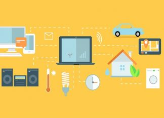 icons for TV, house, car, all connected