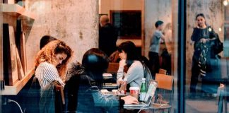 people working at table