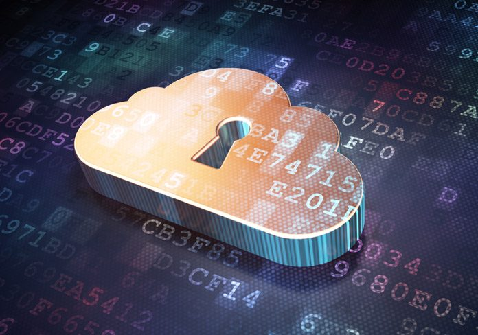padlock sign on cloud