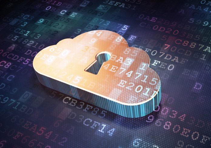 padlock sign on cloud