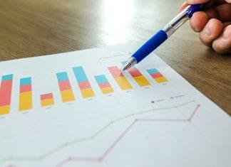 pen on bar chart