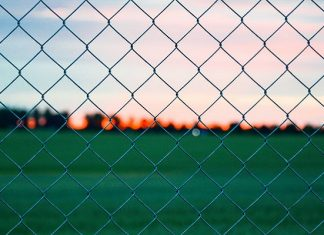 view from behind a fence