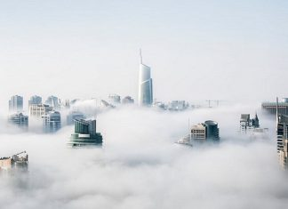 cloud swirlimg around buildings