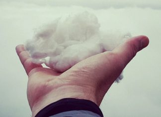 person holding cloud