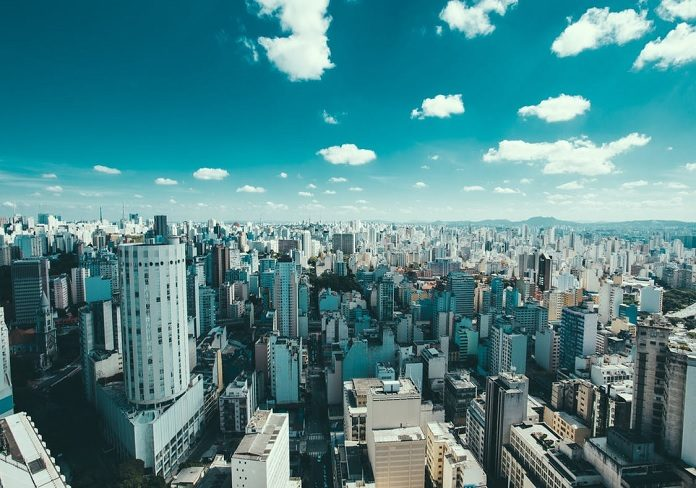 cloud over buildings