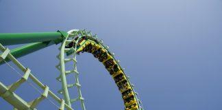Spiral loop of a green steel roller coaster